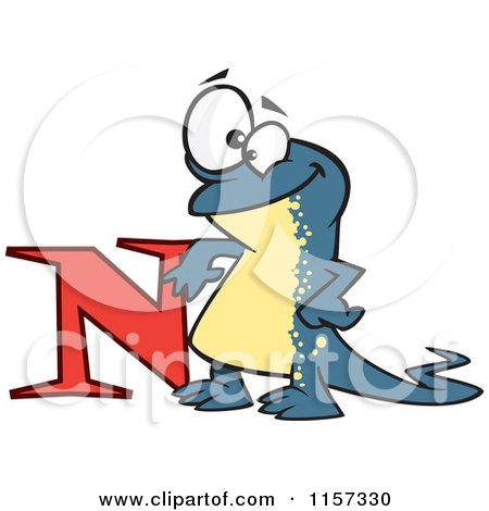 Cartoon of a Happy Newt Leaning on the Letter N - Royalty Free Vector Clipart by toonaday