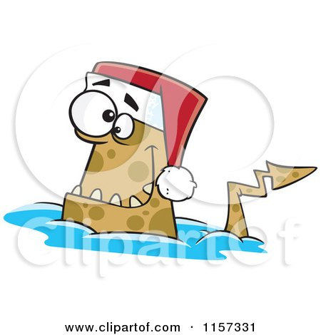 Cartoon of a Christmas Monster Wearing a Santa Hat - Royalty Free Vector Clipart by toonaday