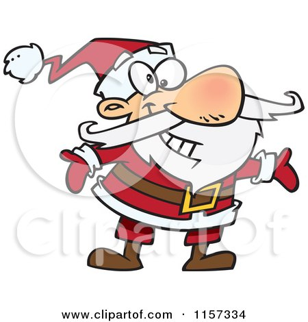 Cartoon of a Huggable Santa with Open Arms - Royalty Free Vector Clipart by toonaday