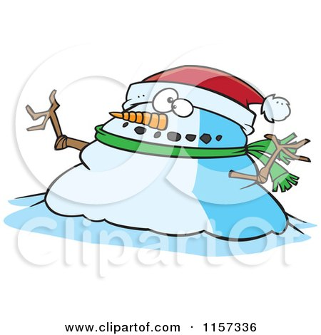 Cartoon of a Chubby Christmas Snowman Wearing a Santa Hat - Royalty Free Vector Clipart by toonaday