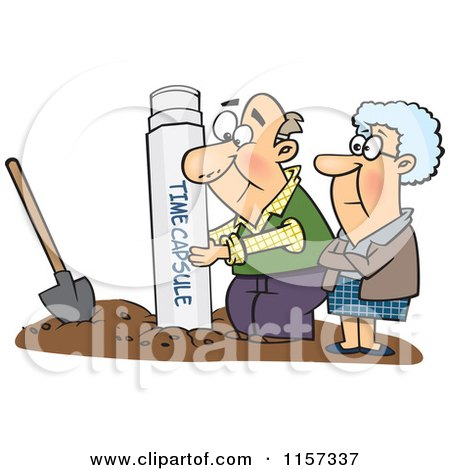 Cartoon of a Senior Couple Pulling out or Burying a Time Capsule - Royalty Free Vector Clipart by toonaday