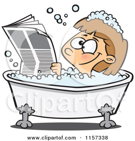 Cartoon of a Happy Girl Reading the Newspaper in a Bath Tub - Royalty Free Vector Clipart by toonaday