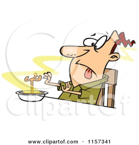 Cartoon of a Disgusted Man with a Chicken Leg in a Soup Bowl - Royalty Free Vector Clipart by toonaday