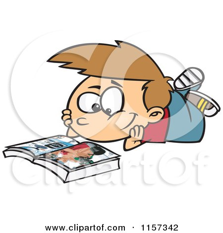 Cartoon of a Boy Reading a Catalog - Royalty Free Vector Clipart by toonaday