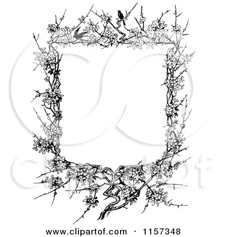 Clipart Of A Retro Vintage Black And White Blossom And