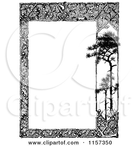 Clipart Of A Retro Vintage Black And White Woodland