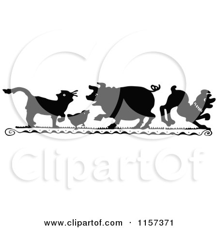 Clipart of a Silhouetted Cat Chick Pig and Dog - Royalty Free Vector Illustration by Prawny Vintage