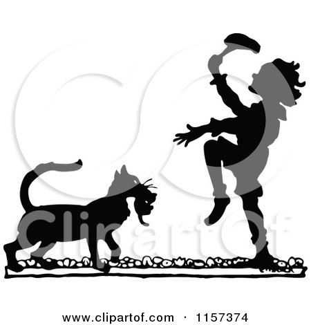 Clipart of a Silhouetted Cat Bringing a Boy a Kitten - Royalty Free Vector Illustration by Prawny Vintage
