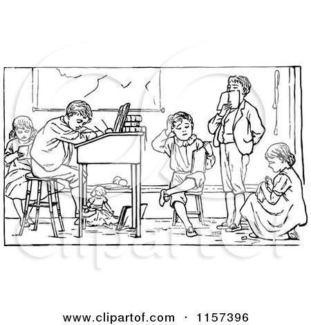 Clipart of a Retro Vintage Black and White Group of Children Studying - Royalty Free Vector Illustration by Prawny Vintage