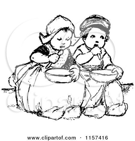 Clipart Of Retro Vintage Black And White Dutch Children Eating