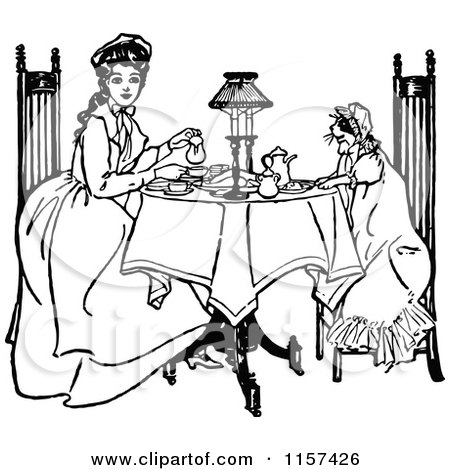 Clipart of a Retro Vintage Black and White Girl and Cat Having Tea - Royalty Free Vector Illustration by Prawny Vintage