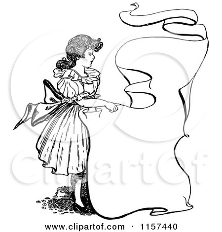 Clipart of a Retro Vintage Black and White Girl with a Banner - Royalty Free Vector Illustration by Prawny Vintage