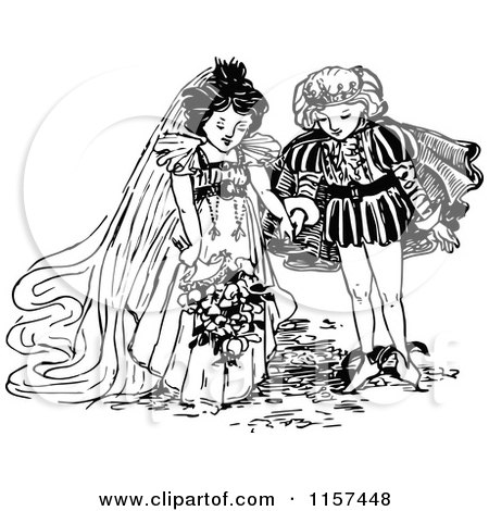 Clipart of a Retro Vintage Black and White Prince and Princess Getting Married - Royalty Free Vector Illustration by Prawny Vintage