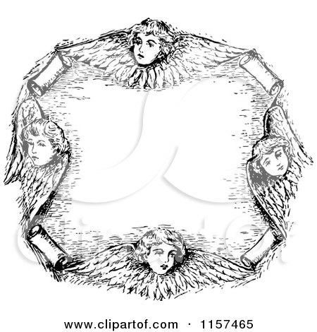 Clipart of a Retro Vintage Black and White Cherub Frame - Royalty Free Vector Illustration by Prawny Vintage