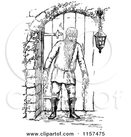 Clipart of a Retro Vintage Black and White Bearded Man by a Door - Royalty Free Vector Illustration by Prawny Vintage