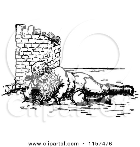 Clipart of a Retro Vintage Black and White Bearded Man Resting in Ruins - Royalty Free Vector Illustration by Prawny Vintage