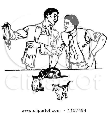 Clipart of Retro Vintage Black and White Men with Kittens - Royalty Free Vector Illustration by Prawny Vintage