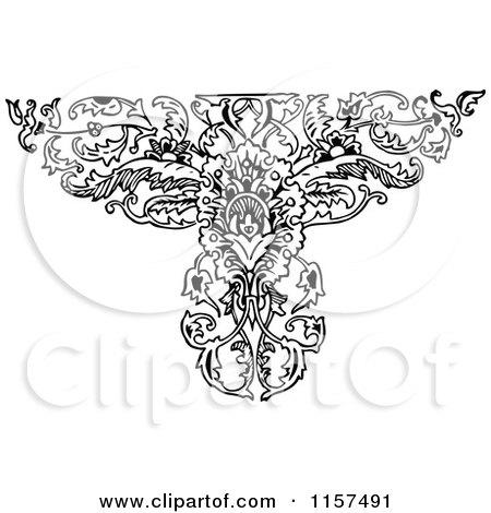 Clipart of a Retro Vintage Black and White Ornate Floral Design Element 2 - Royalty Free Vector Illustration by Prawny Vintage