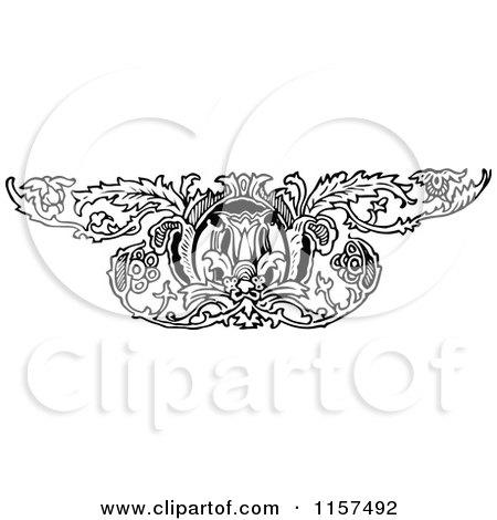 Clipart of a Retro Vintage Black and White Ornate Floral Design Element 3 - Royalty Free Vector Illustration by Prawny Vintage