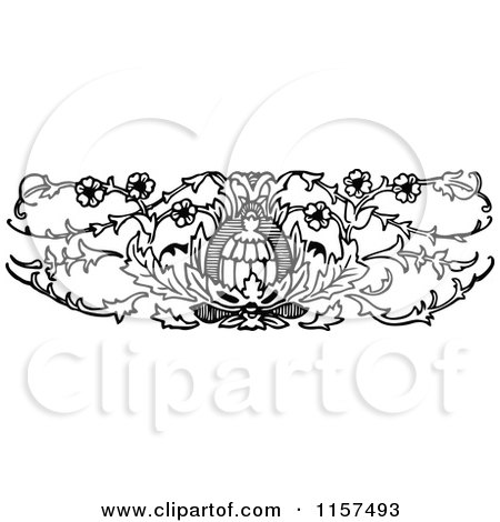 Clipart of a Retro Vintage Black and White Ornate Floral Design Element 4 - Royalty Free Vector Illustration by Prawny Vintage