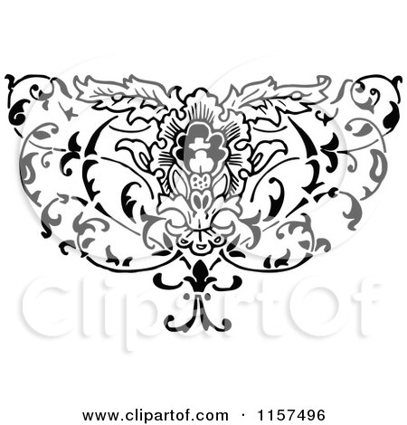 Clipart of a Retro Vintage Black and White Ornate Floral Design Element - Royalty Free Vector Illustration by Prawny Vintage