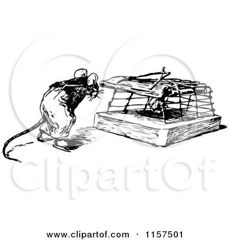 Retro Vintage Black and White Mouse by a Trap Posters, Art Prints