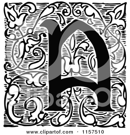 Clipart of a Retro Vintage Black and White Ornate Letter a with Vines - Royalty Free Vector Illustration by Prawny Vintage