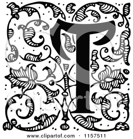 Clipart of a Retro Vintage Black and White Ornate Letter T with Vines - Royalty Free Vector Illustration by Prawny Vintage
