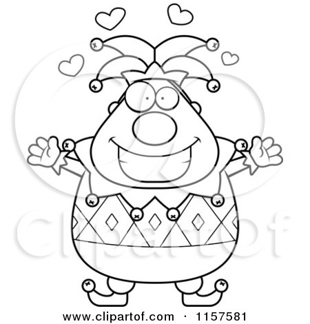 Cartoon Clipart Of A Black And White Pudgy Jester with Open Arms - Vector Outlined Coloring Page by Cory Thoman
