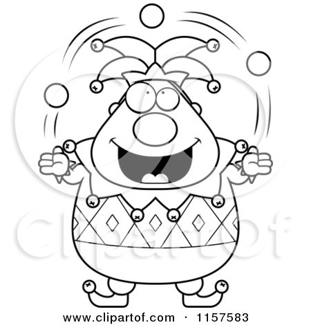 cartoon clipart of a black and white pudgy jester juggling vector outlined coloring page by cory thoman