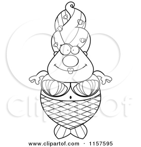 Cartoon Clipart Of A Black And White Plump Mermaid - Vector Outlined Coloring Page by Cory Thoman