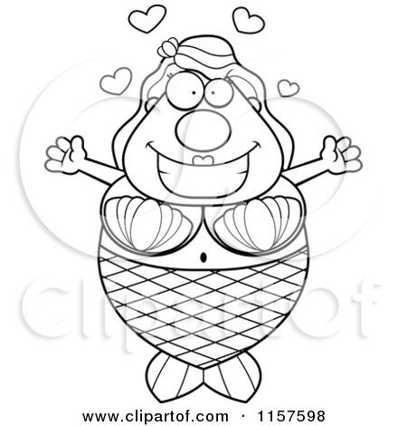 Cartoon Clipart Of A Black And White Loving Plump Mermaid with Open Arms - Vector Outlined Coloring Page by Cory Thoman