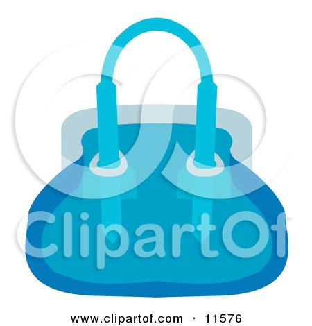 Woman's Blue Purse Hand Bag Clipart Picture by AtStockIllustration