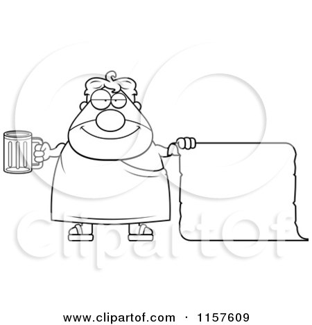 cool royaltyfree rf clipart of a plump frat man holding with scroll coloring page