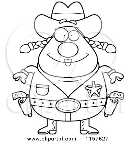 Cartoon Clipart Of A Black And White Chubby Female Cowgirl Sheriff - Vector Outlined Coloring Page by Cory Thoman