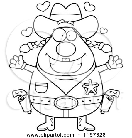 Cartoon Clipart Of A Black And White Plump Cowgirl with Hearts - Vector Outlined Coloring Page by Cory Thoman