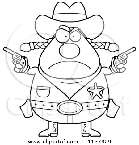Cartoon Clipart Of A Black And White Plump Angry Cowgirl Holding up Guns - Vector Outlined Coloring Page by Cory Thoman
