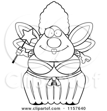 Cartoon Clipart Of A Black And White Plump Fairy Godmother - Vector Outlined Coloring Page by Cory Thoman