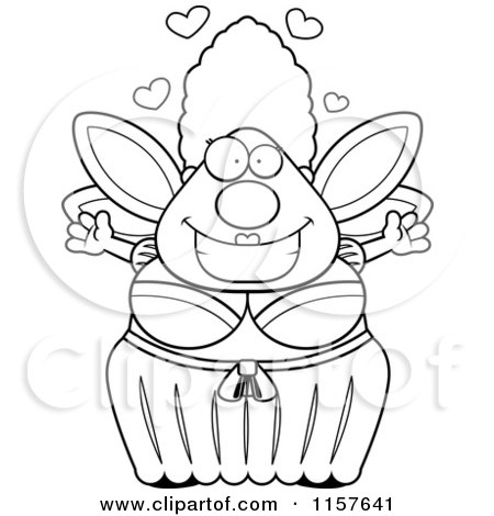 Cartoon Clipart Of A Black And White Plump Fairy Godmother with Open Arms - Vector Outlined Coloring Page by Cory Thoman