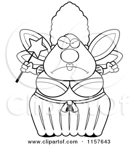 Cartoon Clipart Of A Black And White Mad Plump Fairy Godmother - Vector Outlined Coloring Page by Cory Thoman