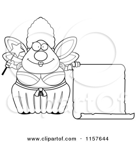 Cartoon Clipart Of A Black And White Plump Fairy Godmother with a Blank Scroll - Vector Outlined Coloring Page by Cory Thoman