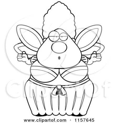 Cartoon Clipart Of A Black And White Plump Fairy Godmother Shrugging - Vector Outlined Coloring Page by Cory Thoman