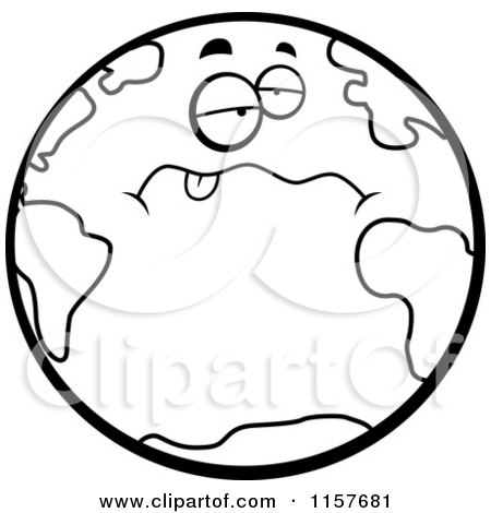 cartoon clipart of a black and white drunk earth hanging its tongue rh clipartof com  earth clipart black and white free