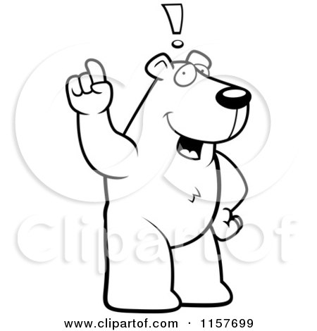 Cartoon Clipart Of A Black And White An Exclaiming Polar Bear - Vector Outlined Coloring Page by Cory Thoman