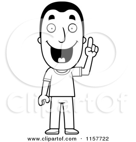 Cartoon Clipart Of A Black And White Happy Man with an ...