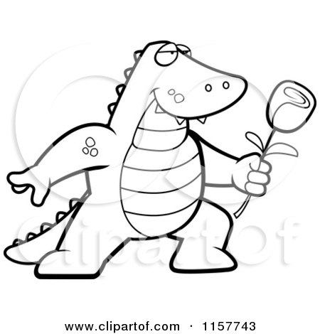preview clipart black and white romantic alligator presenting a rose for his love