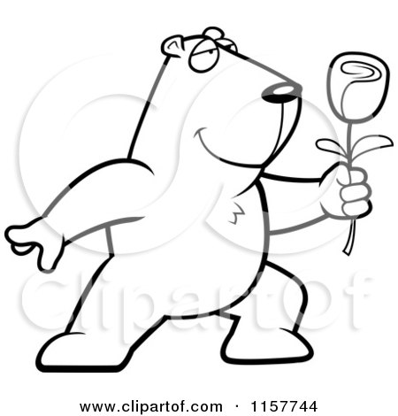 Cartoon Clipart Of A Black And White Romantic Groundhog Presenting a Rose for His Love - Vector Outlined Coloring Page by Cory Thoman