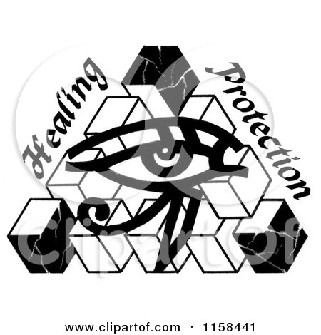 Clipart of a Sketched Black and White Eye of Horus - Royalty Free Illustration by LoopyLand