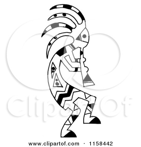 Clipart of a Sketched Black and White Kokopelli Flute ...