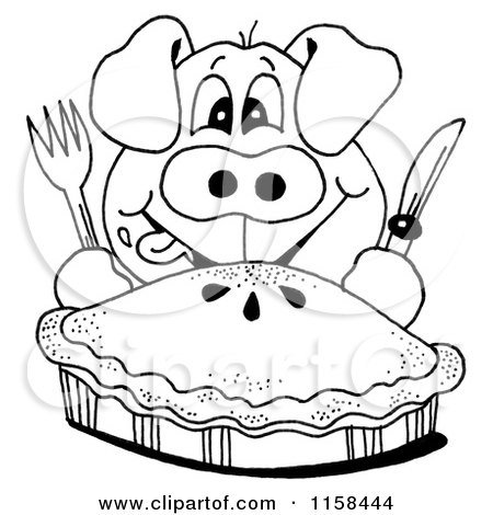 Clipart of a Sketched Black and White Hungry Pig and Pie - Royalty Free Illustration by LoopyLand